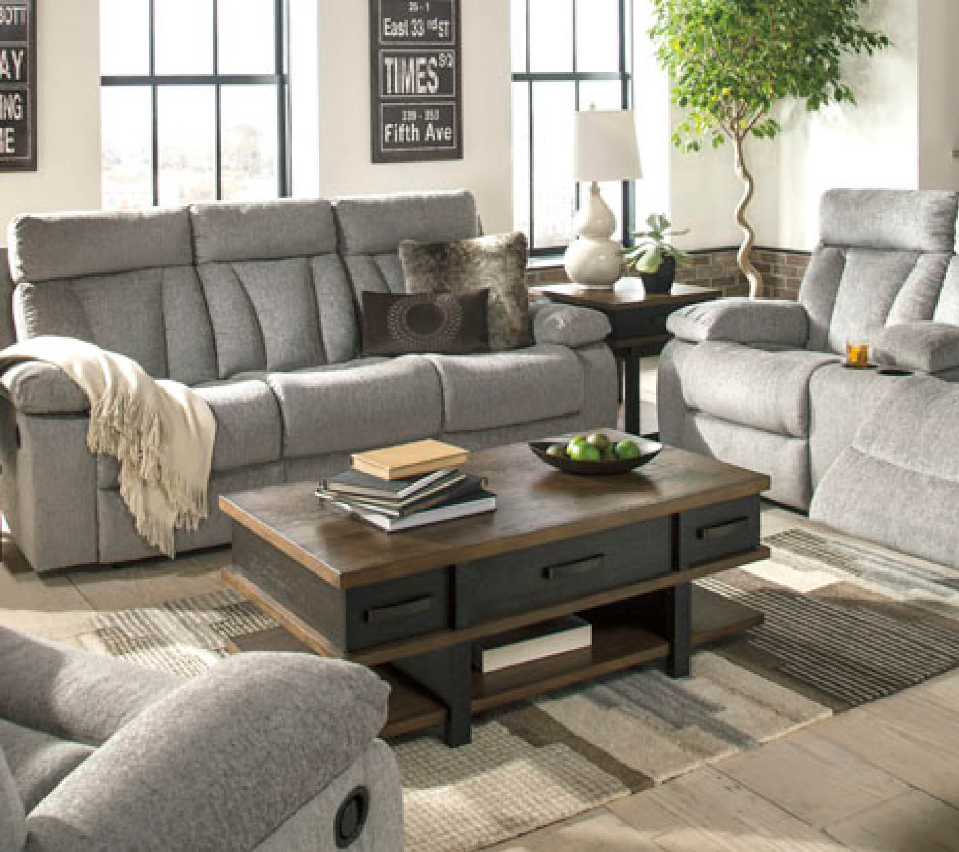 Mitchiner Grey Reclining Sofa and Drop Table